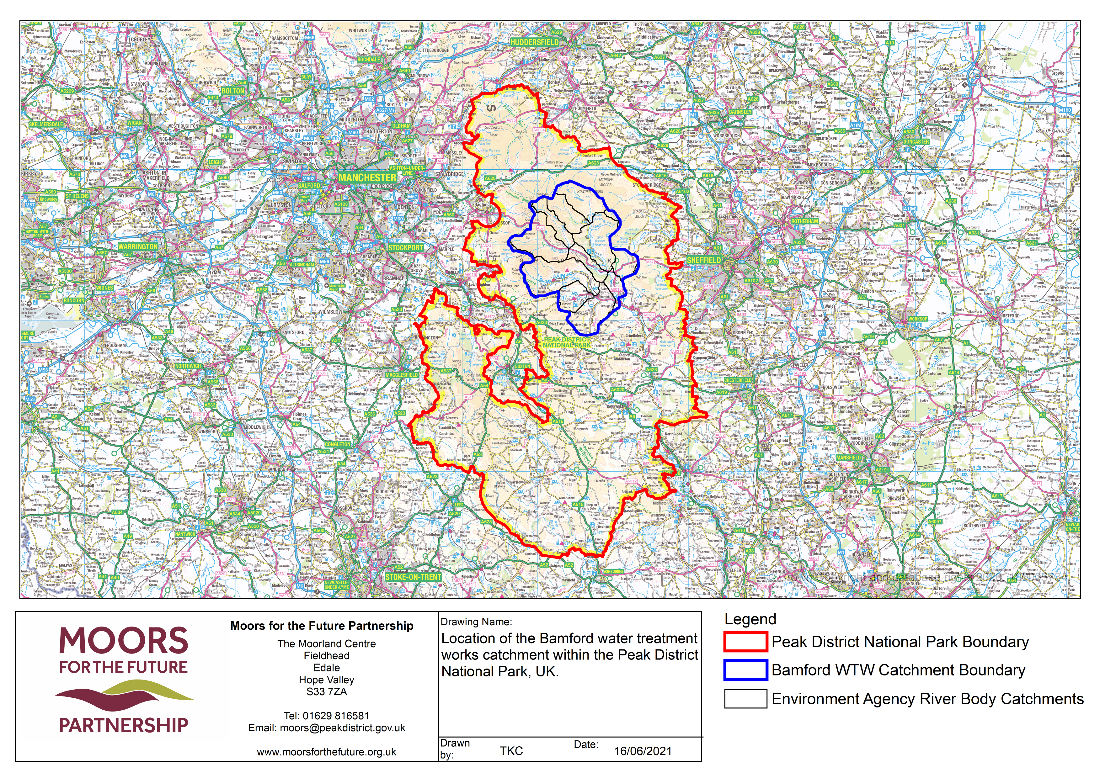 Map showing Bamford WTW Catchment