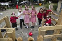 Children playing a fire ranger game to learn how to be fire aware