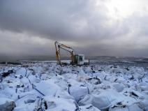 Image of bags of heather brash waiting to be airlifted