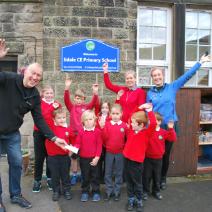 Children at Edale School celebrating money raised