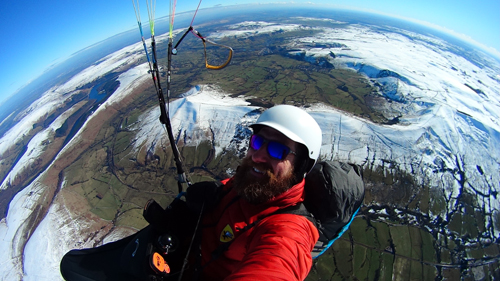 Selfie of Lee Cooper 5000 feet above Mam Tor