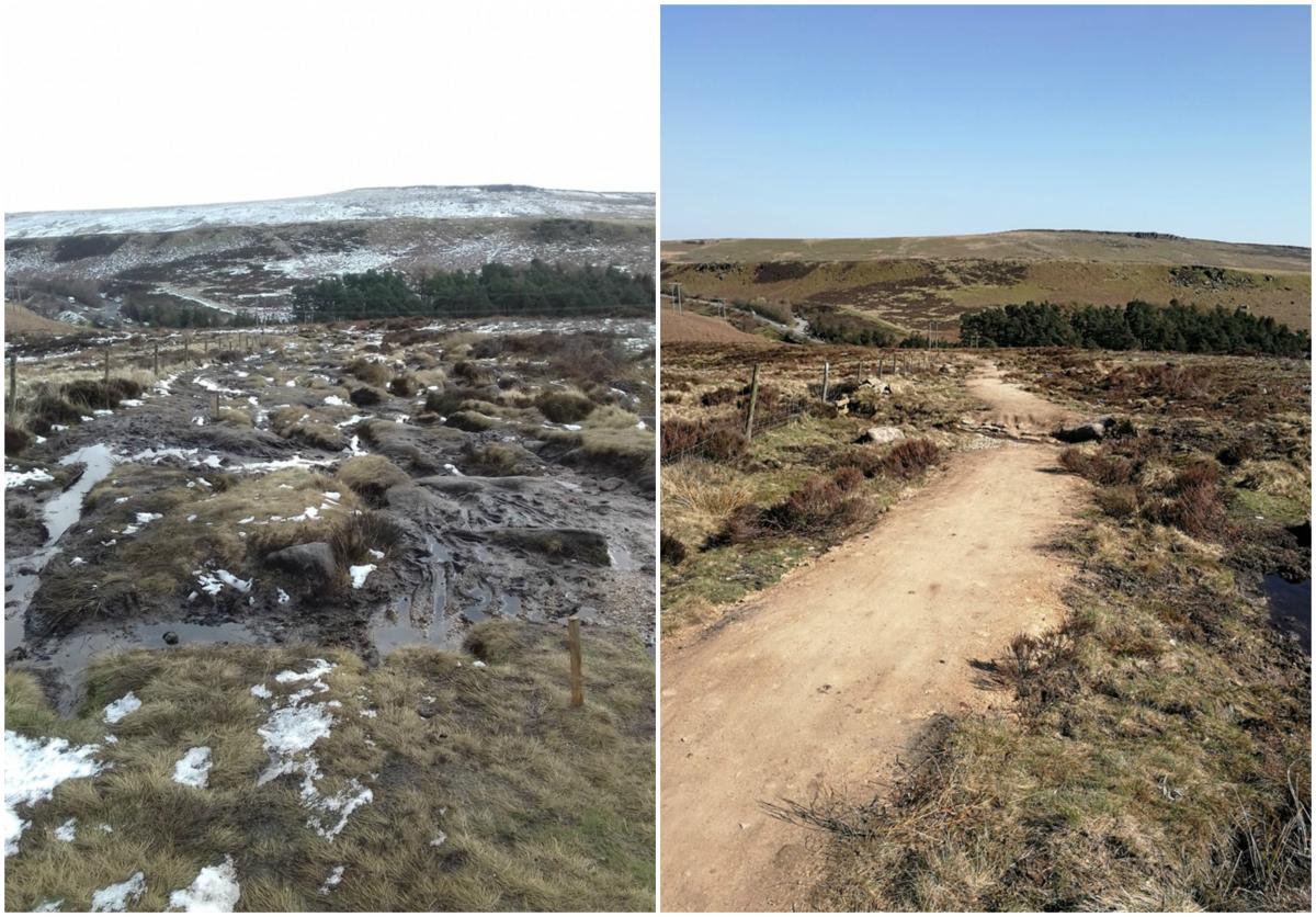 Before and after image of a restored bridleway