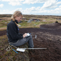 Conservationist taking dipwell measurements on top of the moors