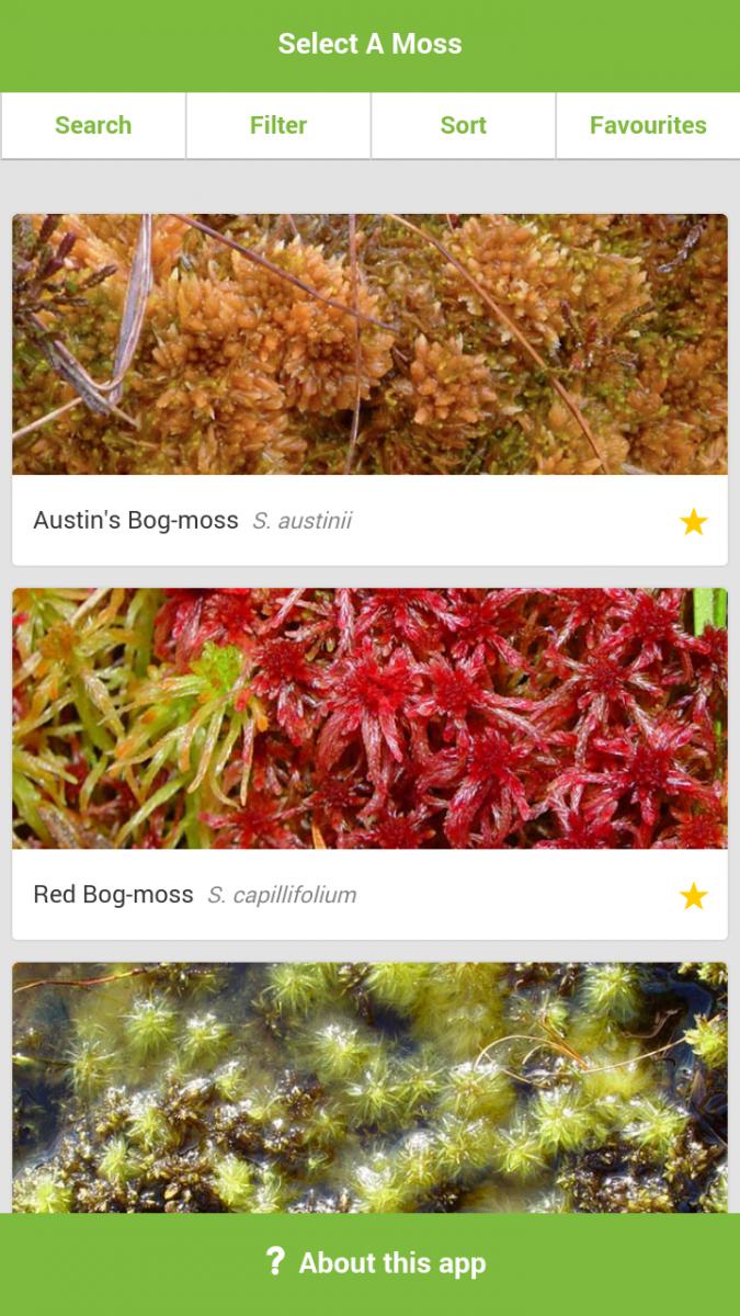 Screenshot of the MoorMOSS app