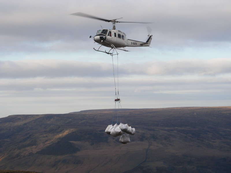 Helicopter with brash bags
