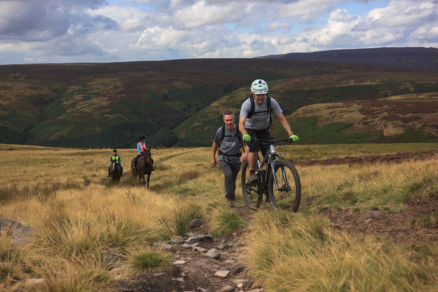 Cyclist and horse riders on the moors