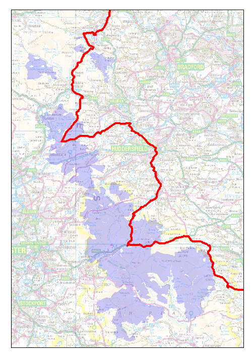 Map of the Tour do Yorkshire route through the Peak District