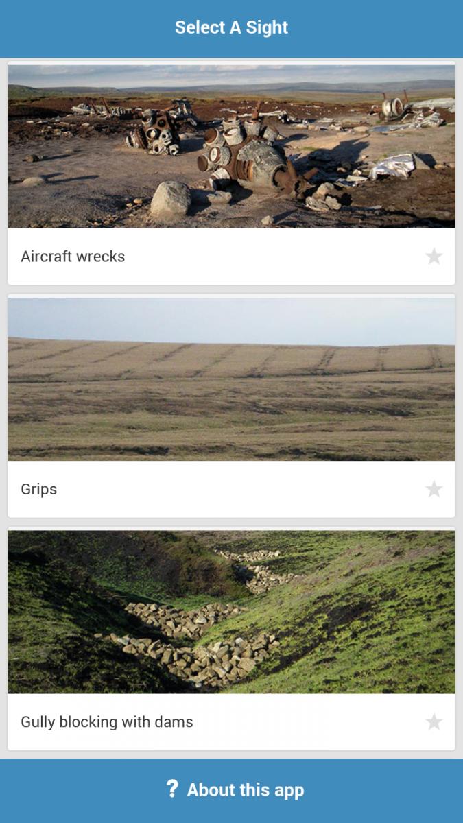 Screenshot of the MoorSIGHTS app