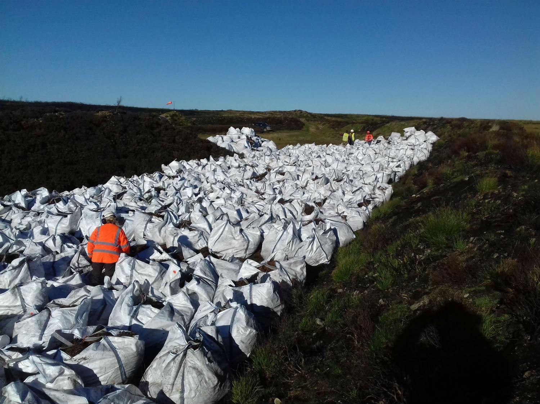 Heather brash delivery on Saddleworth Moor